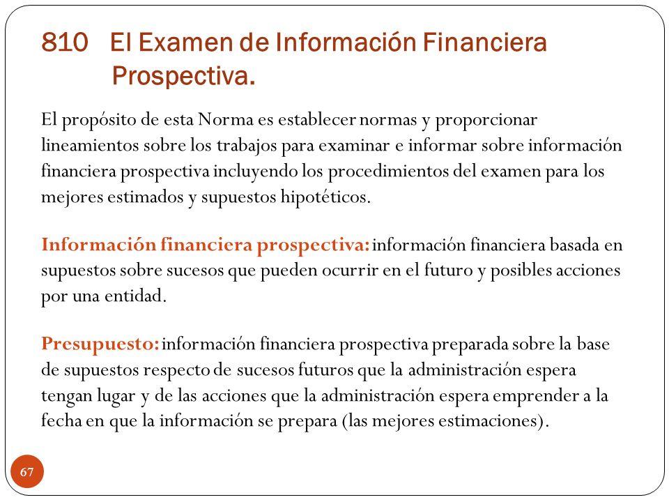 El propósito de esta Norma es establecer normas y proporcionar lineamientos sobre los trabajos para examinar e informar sobre información financiera p