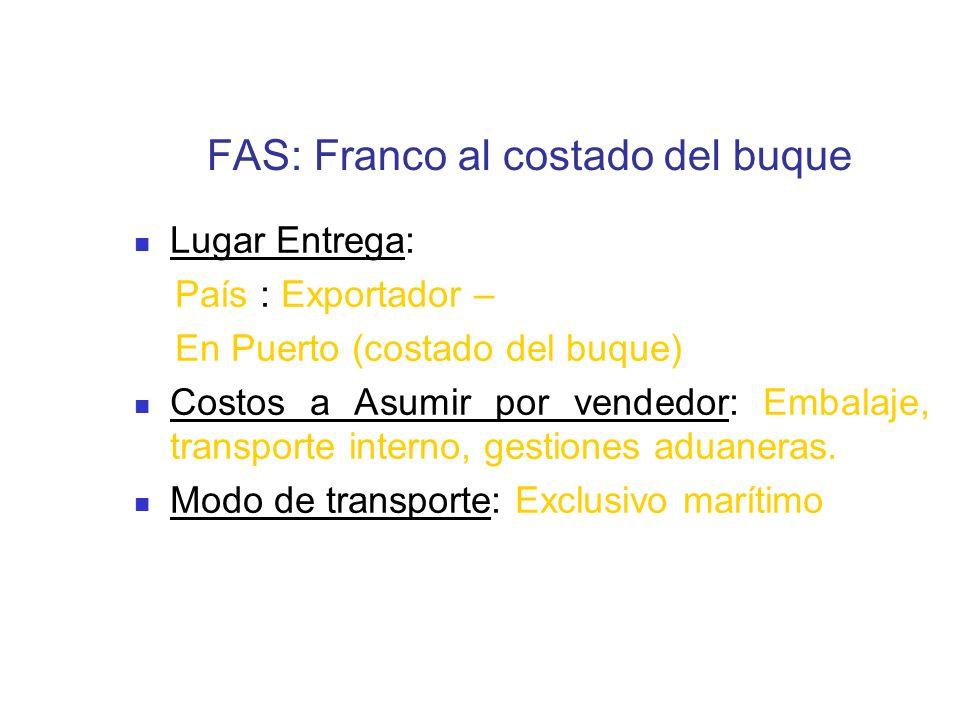 FAS: Franco al costado del buque Lugar Entrega: País : Exportador – En Puerto (costado del buque) Costos a Asumir por vendedor: Embalaje, transporte i