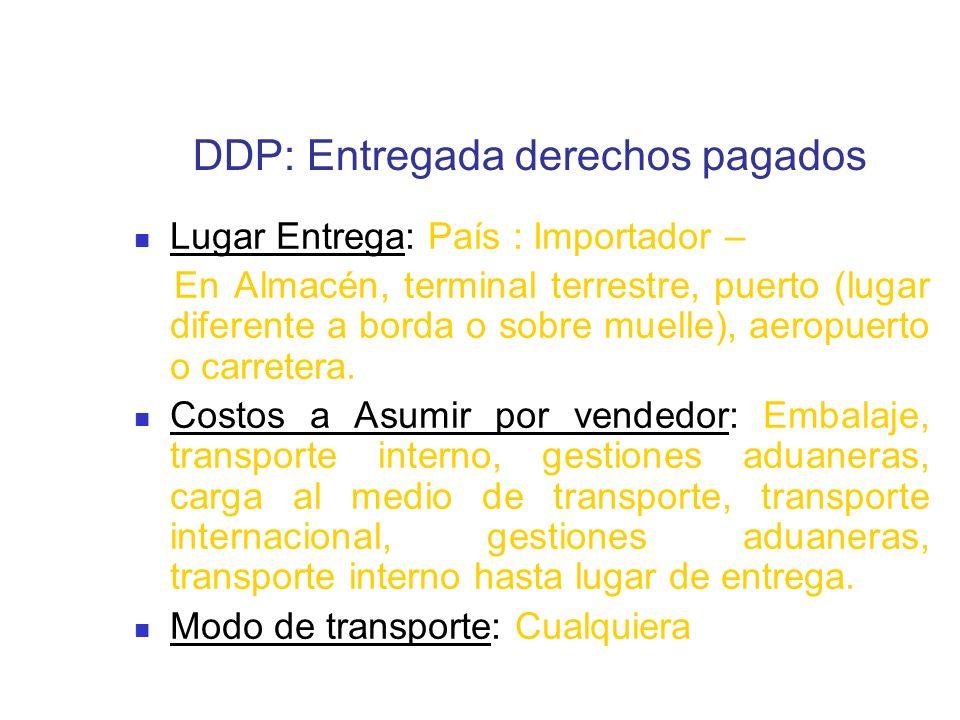 DDP: Entregada derechos pagados Lugar Entrega: País : Importador – En Almacén, terminal terrestre, puerto (lugar diferente a borda o sobre muelle), ae