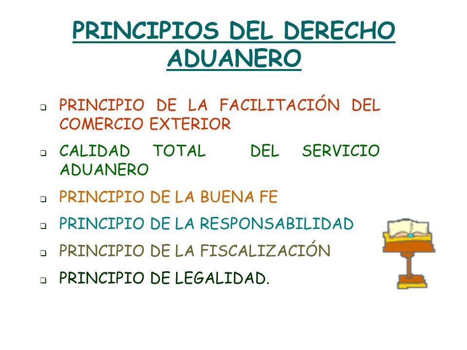 PRINCIPIOS DEL DERECHO ADUANERO PRINCIPIO DE LA FACILITACIÓN DEL COMERCIO EXTERIOR CALIDAD TOTAL DEL SERVICIO ADUANERO PRINCIPIO DE LA BUENA FE PRINCI