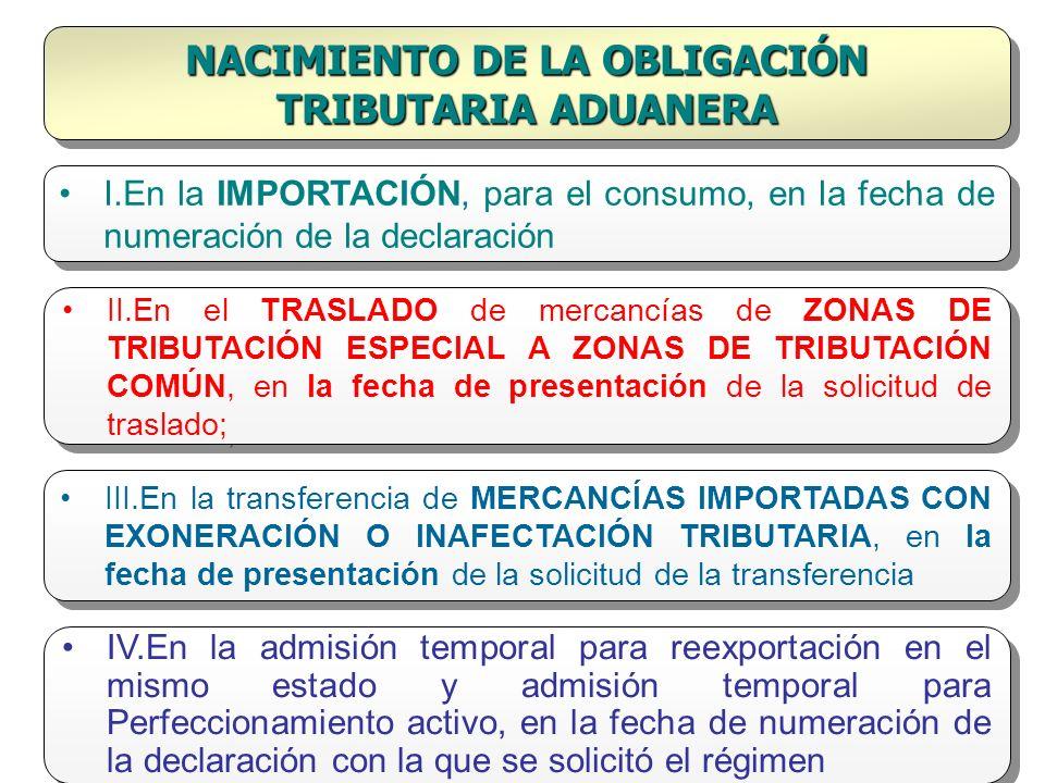 NACIMIENTO DE LA OBLIGACIÓN TRIBUTARIA ADUANERA I.En la IMPORTACIÓN, para el consumo, en la fecha de numeración de la declaración II.En el TRASLADO de