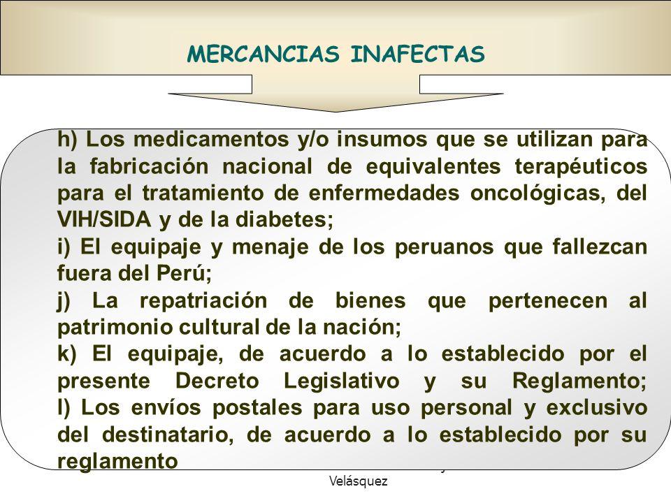 Doctor en Derecho Gustavo Mejía Velásquez MERCANCIAS INAFECTAS h) Los medicamentos y/o insumos que se utilizan para la fabricación nacional de equival