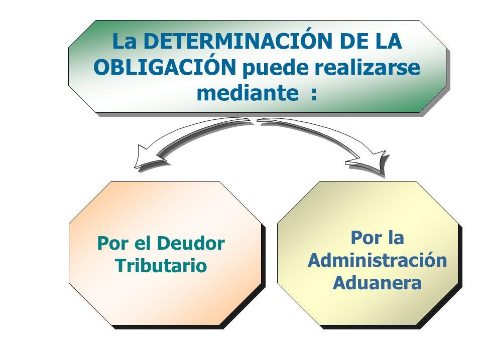La DETERMINACIÓN DE LA OBLIGACIÓN puede realizarse mediante : Por el Deudor Tributario Por la Administración Aduanera