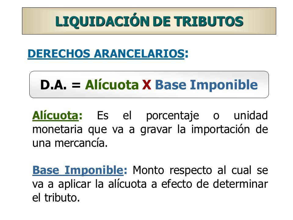 DERECHOS ARANCELARIOS : D.A. = Alícuota X Base Imponible Alícuota: Es el porcentaje o unidad monetaria que va a gravar la importación de una mercancía