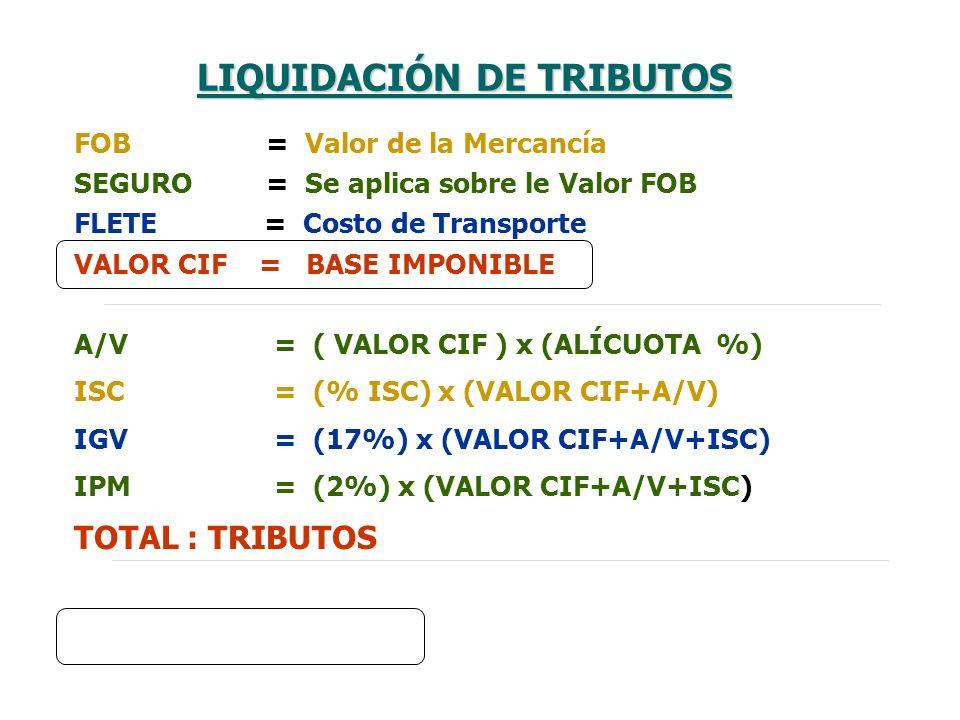 FOB= Valor de la Mercancía SEGURO= Se aplica sobre le Valor FOB FLETE = Costo de Transporte VALOR CIF = BASE IMPONIBLE A/V = ( VALOR CIF ) x (ALÍCUOTA
