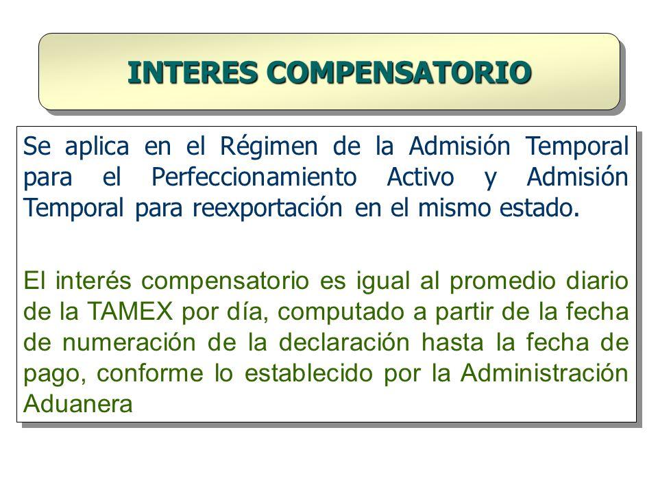Se aplica en el Régimen de la Admisión Temporal para el Perfeccionamiento Activo y Admisión Temporal para reexportación en el mismo estado. El interés