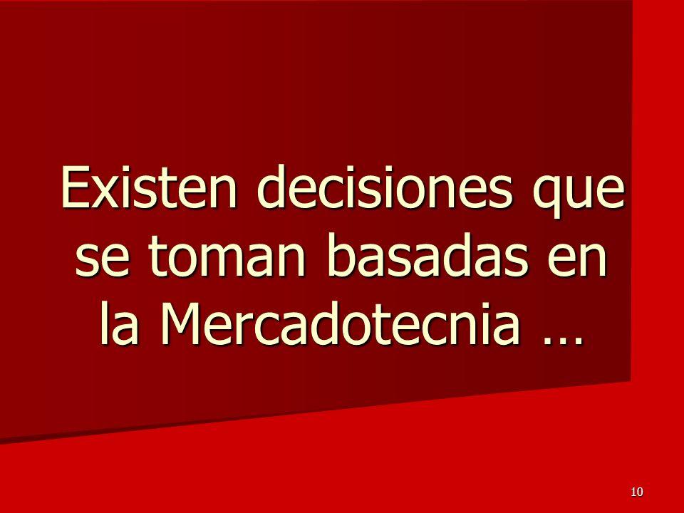10 Existen decisiones que se toman basadas en la Mercadotecnia …