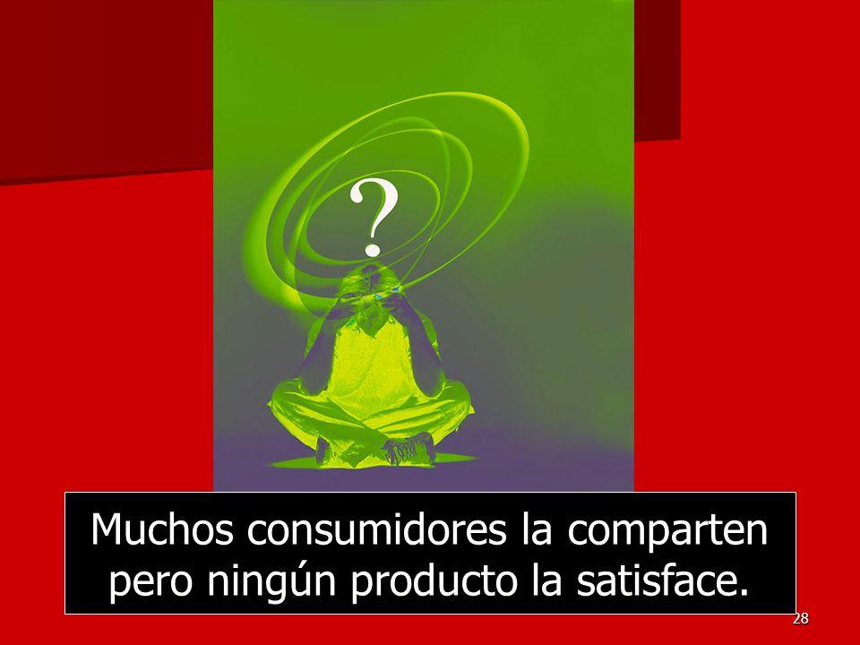 28 Muchos consumidores la comparten pero ningún producto la satisface.