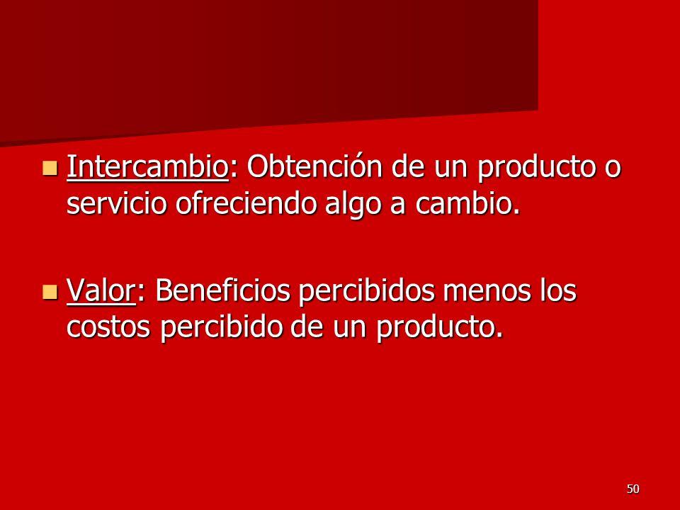 50 Intercambio: Obtención de un producto o servicio ofreciendo algo a cambio. Intercambio: Obtención de un producto o servicio ofreciendo algo a cambi