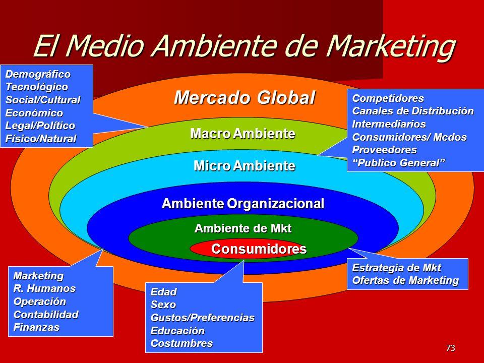 73 Mercado Global Macro Ambiente Micro Ambiente Ambiente Organizacional El Medio Ambiente de Marketing Ambiente de Mkt Consumidores Estrategia de Mkt