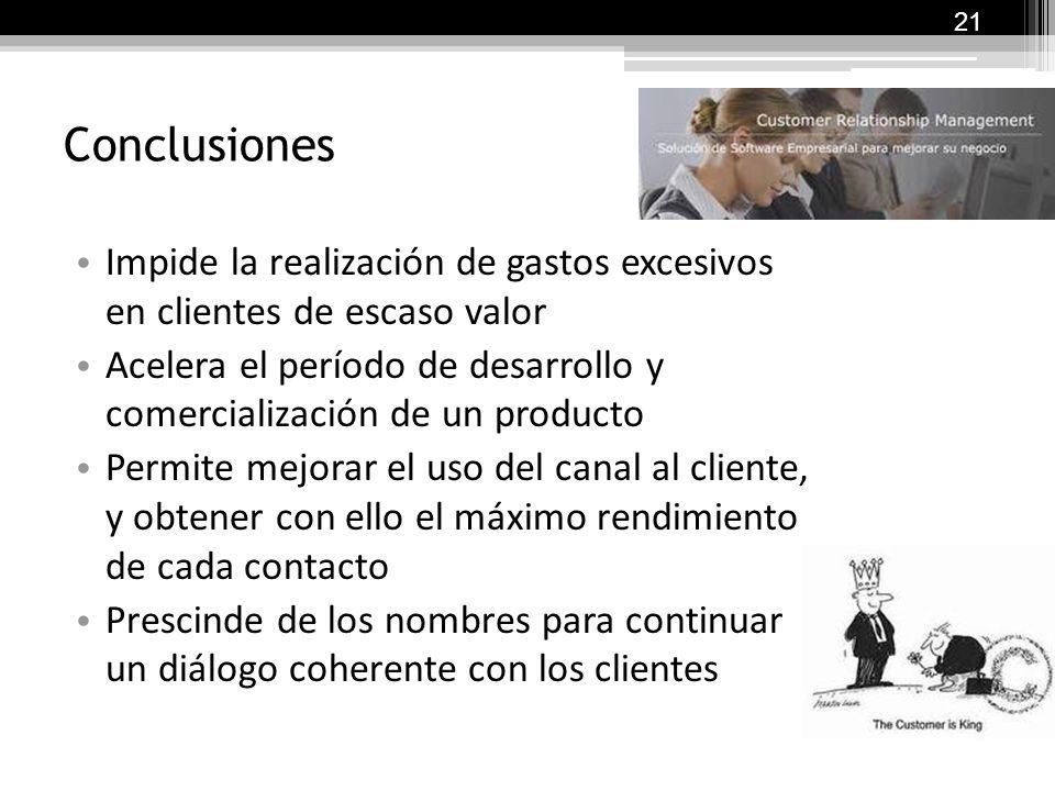 Conclusiones El CRM desarrollado como estrategia: Aumenta la satisfacción de los clientes en términos medibles Reduce los costos de comunicación Facil