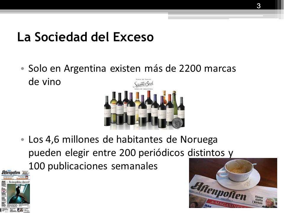 La Sociedad del Exceso Solo en Argentina existen más de 2200 marcas de vino Los 4,6 millones de habitantes de Noruega pueden elegir entre 200 periódicos distintos y 100 publicaciones semanales 3