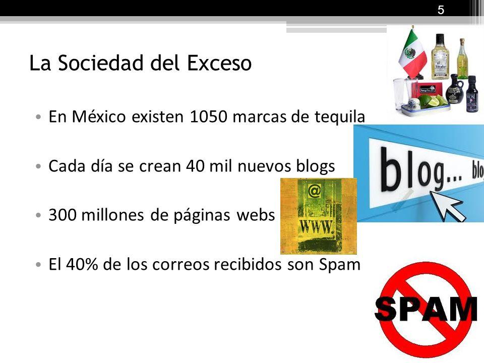 La Sociedad del Exceso En México existen 1050 marcas de tequila Cada día se crean 40 mil nuevos blogs 300 millones de páginas webs El 40% de los correos recibidos son Spam 5