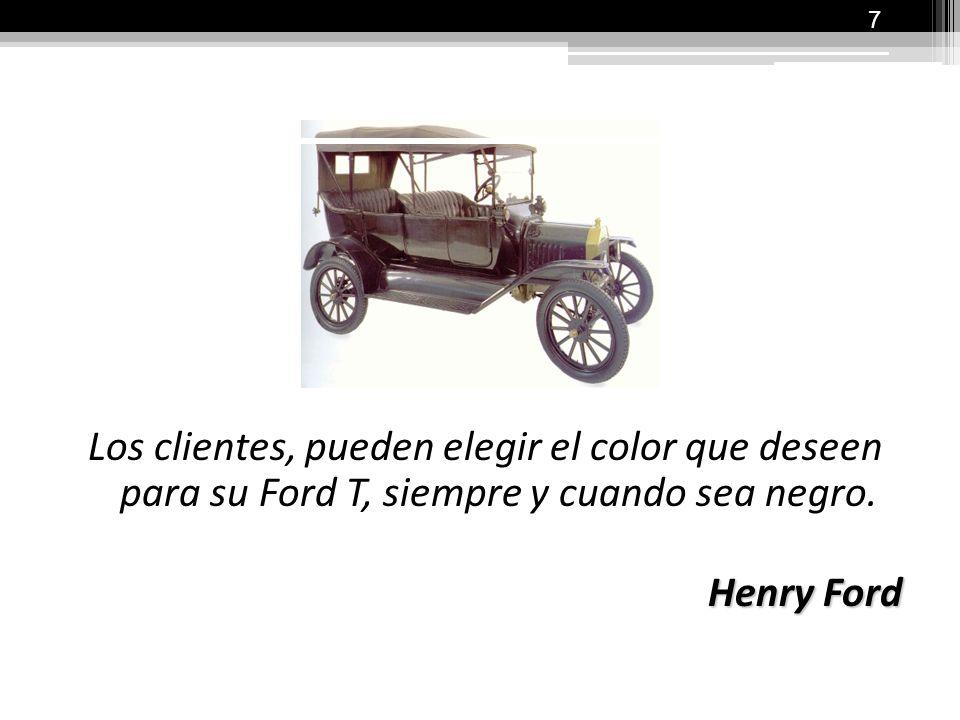 Los clientes, pueden elegir el color que deseen para su Ford T, siempre y cuando sea negro.
