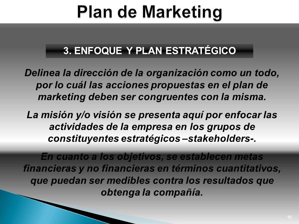 19 3. ENFOQUE Y PLAN ESTRATÉGICO Delinea la dirección de la organización como un todo, por lo cuál las acciones propuestas en el plan de marketing deb
