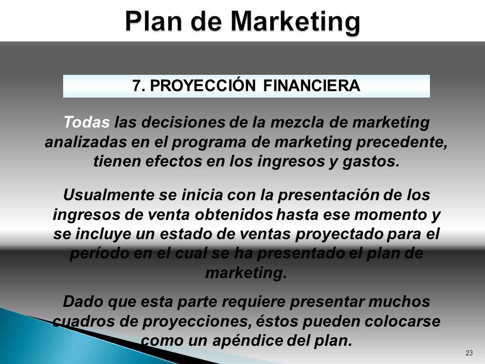 23 7. PROYECCIÓN FINANCIERA Todas las decisiones de la mezcla de marketing analizadas en el programa de marketing precedente, tienen efectos en los in