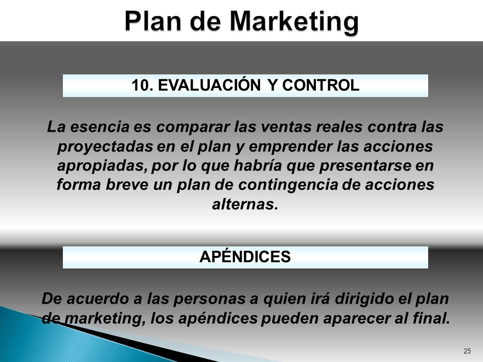 25 10. EVALUACIÓN Y CONTROL La esencia es comparar las ventas reales contra las proyectadas en el plan y emprender las acciones apropiadas, por lo que