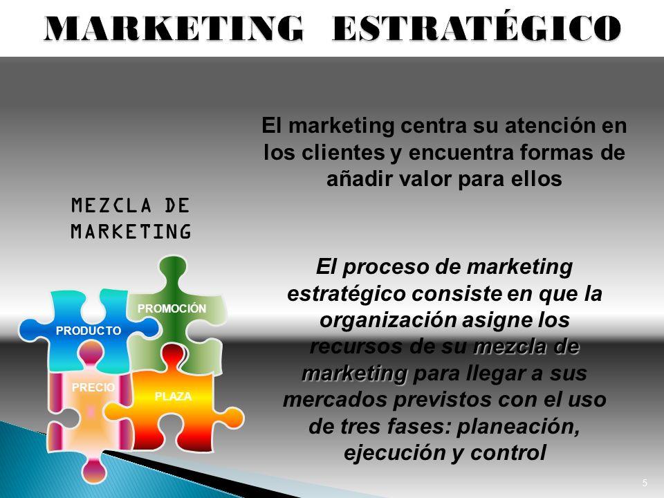 5 mezcla de marketing El proceso de marketing estratégico consiste en que la organización asigne los recursos de su mezcla de marketing para llegar a