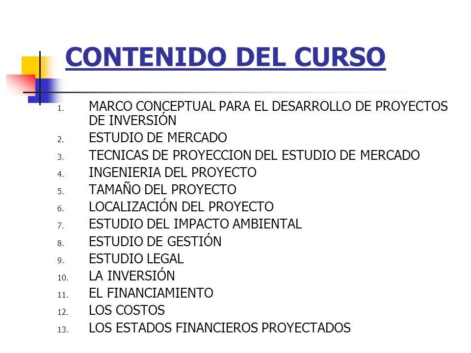 CONTENIDO DEL CURSO 1.MARCO CONCEPTUAL PARA EL DESARROLLO DE PROYECTOS DE INVERSIÓN 2.