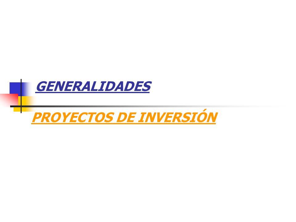 GENERALIDADES PROYECTOS DE INVERSIÓN