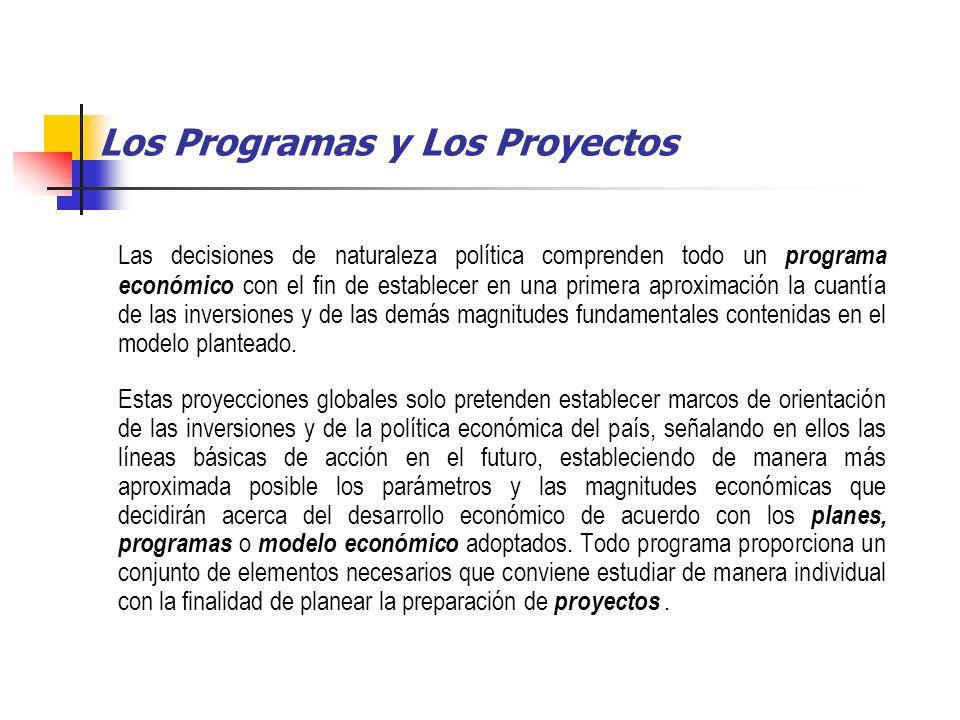 Los Programas y Los Proyectos Las decisiones de naturaleza política comprenden todo un programa económico con el fin de establecer en una primera aproximación la cuantía de las inversiones y de las demás magnitudes fundamentales contenidas en el modelo planteado.