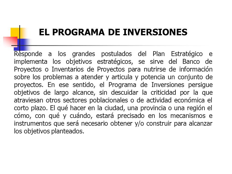 La Planificación Estratégica y la construcción de Programa de Inversiones y Proyectos 1.-Definido en el Plan Estratégico Institucional, la Visión, Mis