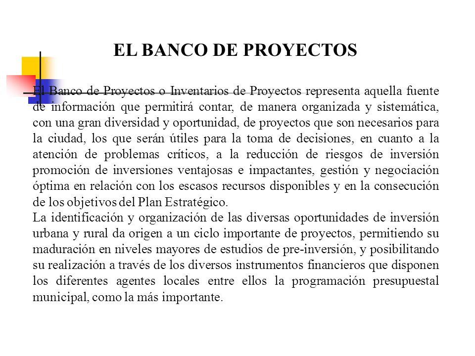 EL PROGRAMA DE INVERSIONES Responde a los grandes postulados del Plan Estratégico e implementa los objetivos estratégicos, se sirve del Banco de Proye