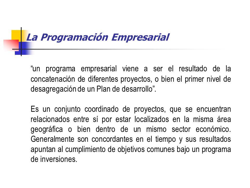 La Programación Empresarial un programa empresarial viene a ser el resultado de la concatenación de diferentes proyectos, o bien el primer nivel de desagregación de un Plan de desarrollo.