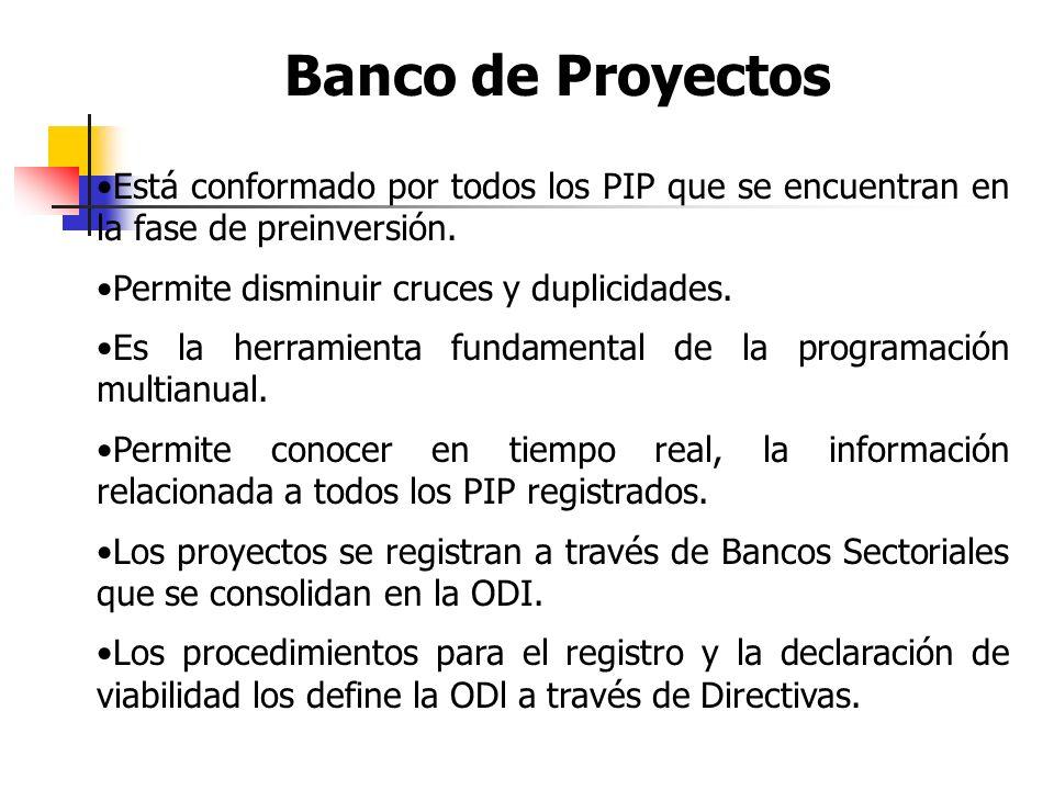 Pre inversión: Estudios a nivel de perfil, prefactibilidad y factibilidad. Inversión: Elaboración del Expediente Técnico ejecución del proyecto. Post