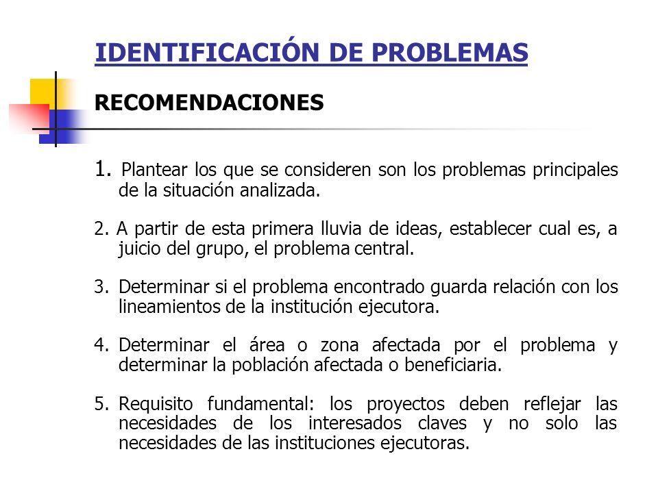 IDENTIFICACIÓN DE PROBLEMAS 1. Plantear los que se consideren son los problemas principales de la situación analizada. 2. A partir de esta primera llu