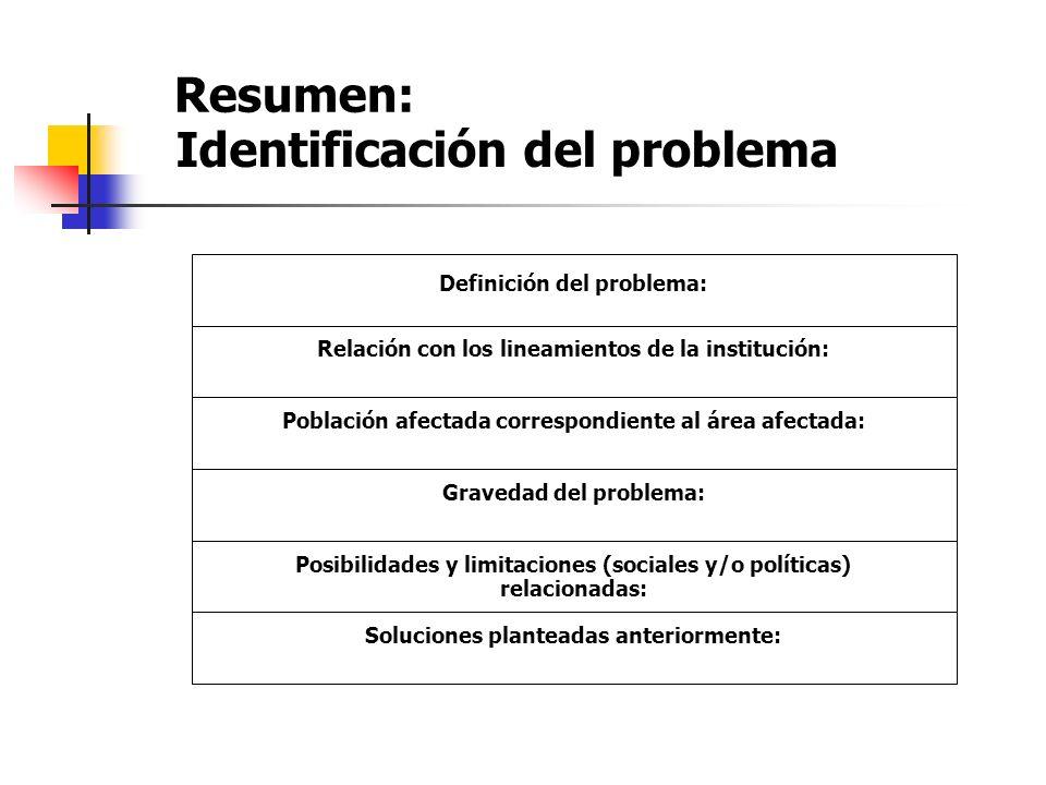 Resumen: Definición del problema: Relación con los lineamientos de la institución: Población afectada correspondiente al área afectada: Gravedad del p