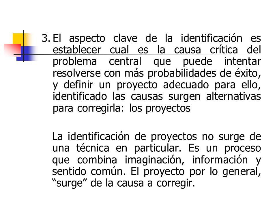 3.El aspecto clave de la identificación es establecer cual es la causa crítica del problema central que puede intentar resolverse con más probabilidad