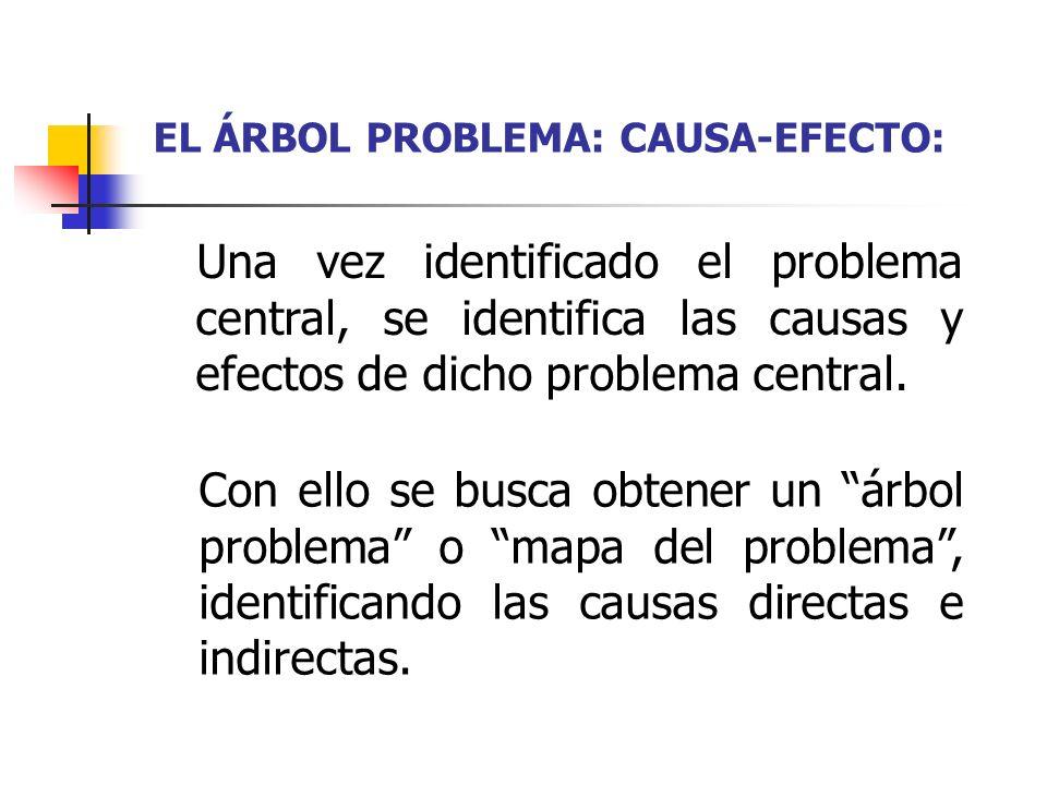 EL ÁRBOL PROBLEMA: CAUSA-EFECTO: Una vez identificado el problema central, se identifica las causas y efectos de dicho problema central. Con ello se b