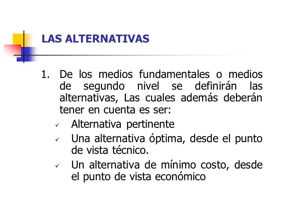 LAS ALTERNATIVAS 1.De los medios fundamentales o medios de segundo nivel se definirán las alternativas, Las cuales además deberán tener en cuenta es s