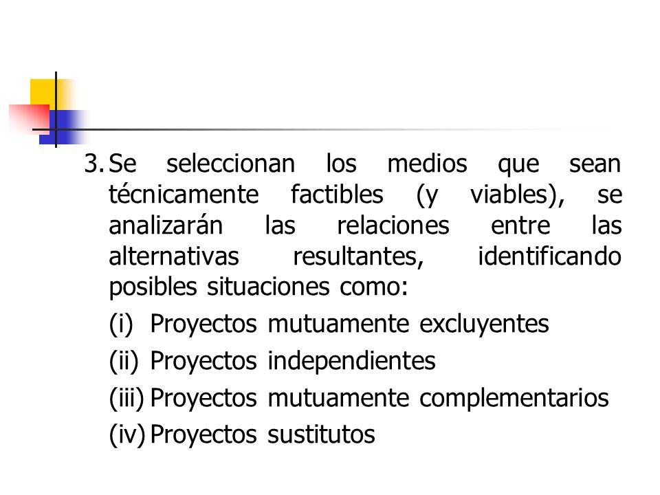 3.Se seleccionan los medios que sean técnicamente factibles (y viables), se analizarán las relaciones entre las alternativas resultantes, identificand