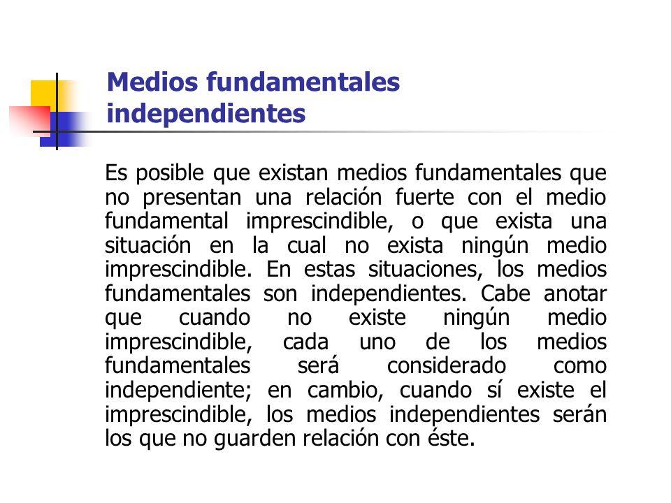 Medios fundamentales independientes Es posible que existan medios fundamentales que no presentan una relación fuerte con el medio fundamental impresci