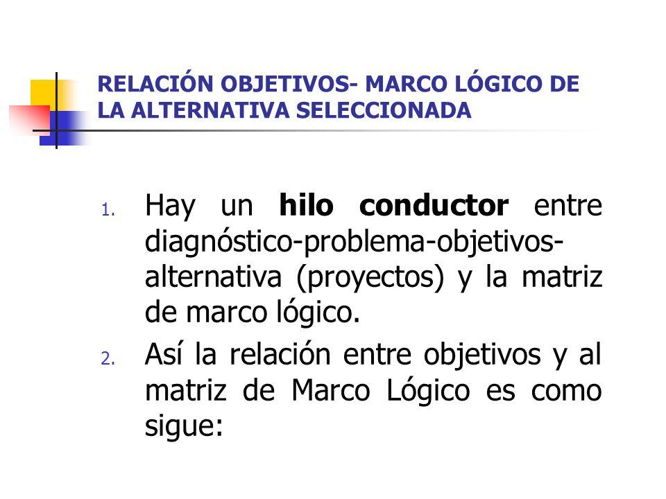 RELACIÓN OBJETIVOS- MARCO LÓGICO DE LA ALTERNATIVA SELECCIONADA 1. Hay un hilo conductor entre diagnóstico-problema-objetivos- alternativa (proyectos)