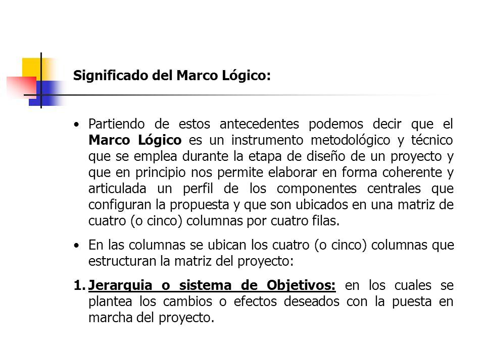 Significado del Marco Lógico: Partiendo de estos antecedentes podemos decir que el Marco Lógico es un instrumento metodológico y técnico que se emplea