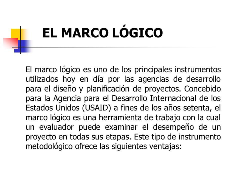 EL MARCO LÓGICO El marco lógico es uno de los principales instrumentos utilizados hoy en día por las agencias de desarrollo para el diseño y planifica