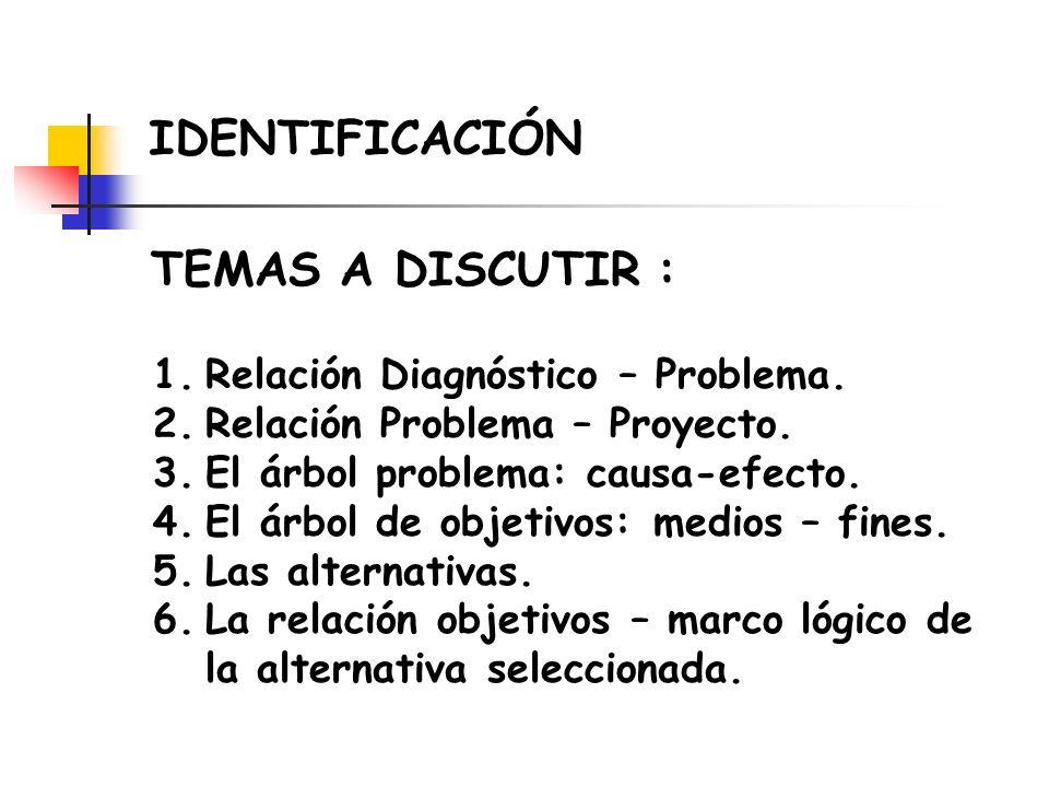 1.Relación Diagnóstico – Problema. 2.Relación Problema – Proyecto. 3.El árbol problema: causa-efecto. 4.El árbol de objetivos: medios – fines. 5.Las a