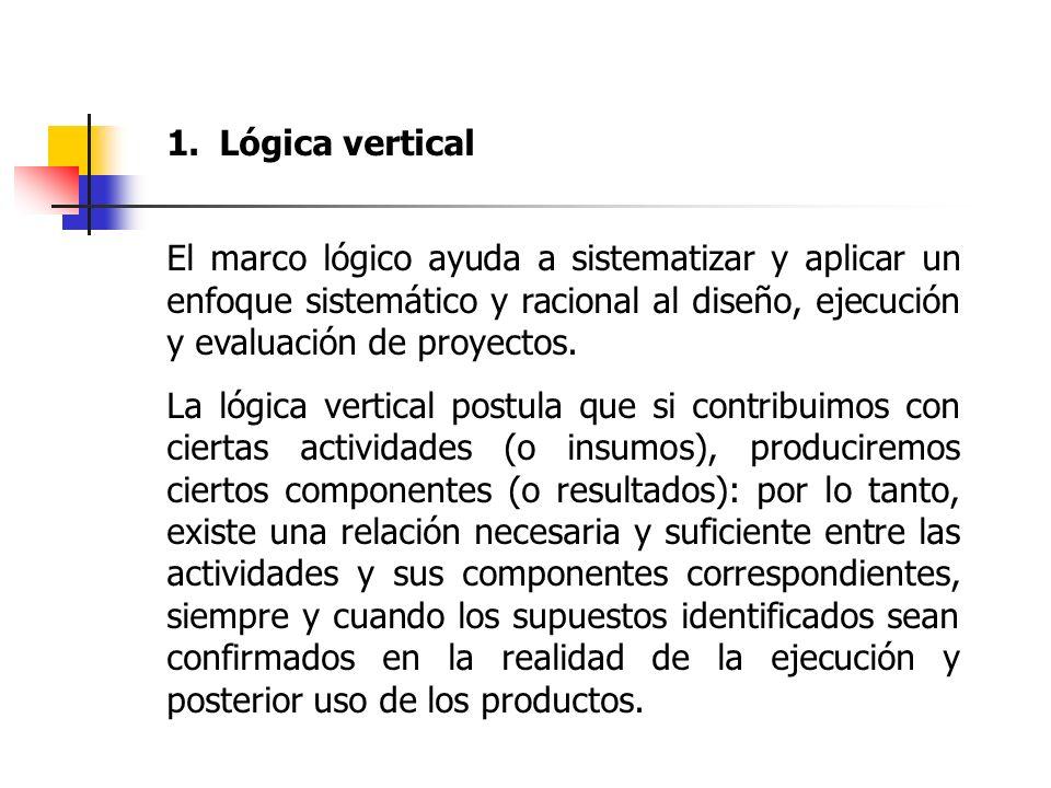 1.Lógica vertical El marco lógico ayuda a sistematizar y aplicar un enfoque sistemático y racional al diseño, ejecución y evaluación de proyectos. La