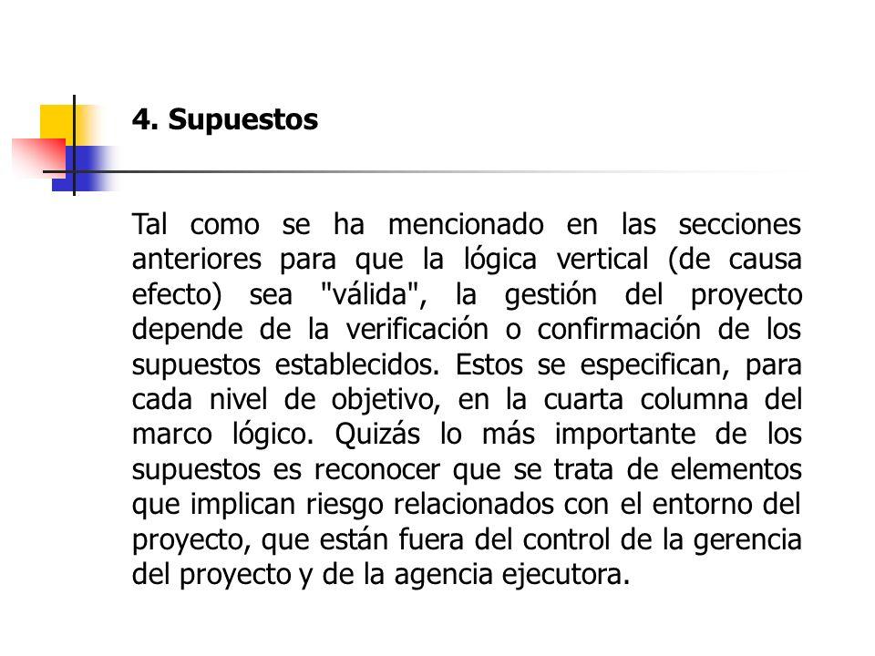 4. Supuestos Tal como se ha mencionado en las secciones anteriores para que la lógica vertical (de causa efecto) sea