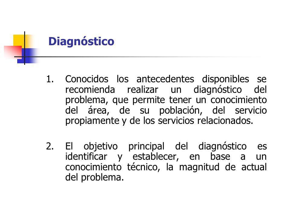 Diagnóstico 1.Conocidos los antecedentes disponibles se recomienda realizar un diagnóstico del problema, que permite tener un conocimiento del área, d