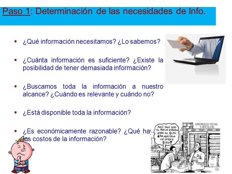 Paso 1: Determinación de las necesidades de Info. ¿Qué información necesitamos? ¿Lo sabemos? ¿Cuánta información es suficiente? ¿Existe la posibilidad