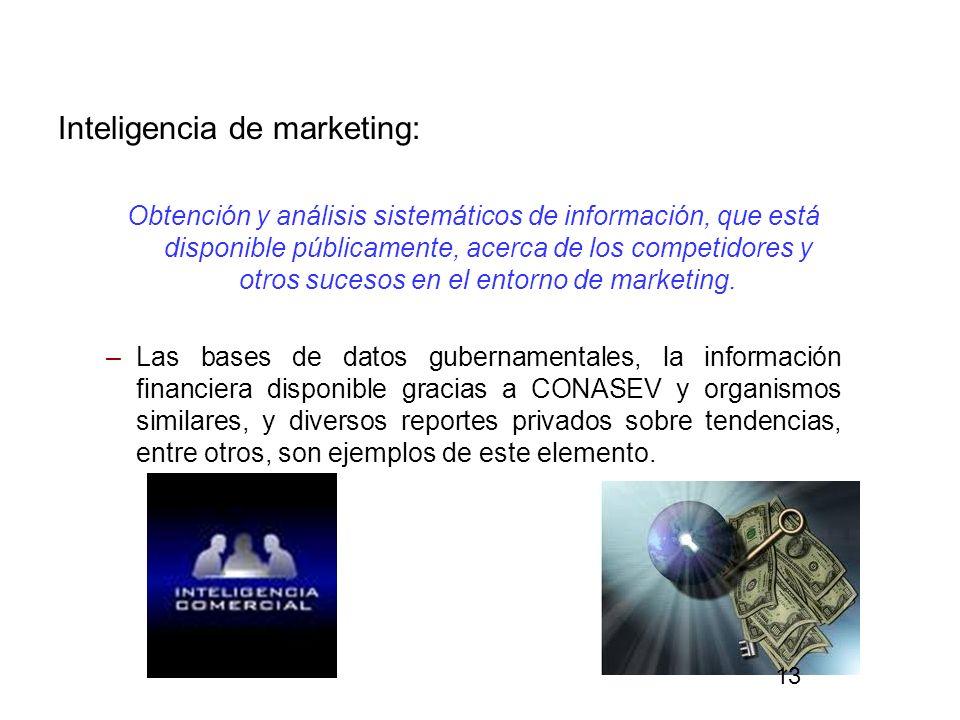 Inteligencia de marketing: Obtención y análisis sistemáticos de información, que está disponible públicamente, acerca de los competidores y otros suce