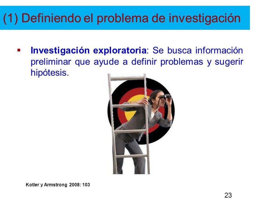 (1) Definiendo el problema de investigación Investigación exploratoria: Se busca información preliminar que ayude a definir problemas y sugerir hipóte