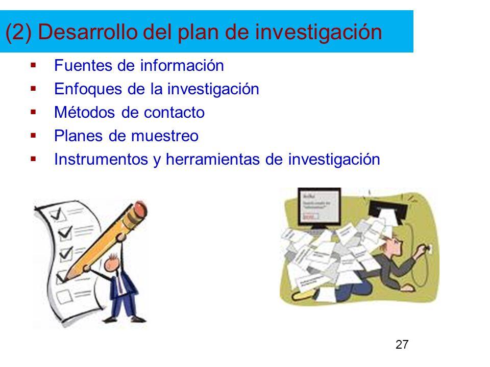 (2) Desarrollo del plan de investigación Fuentes de información Enfoques de la investigación Métodos de contacto Planes de muestreo Instrumentos y her