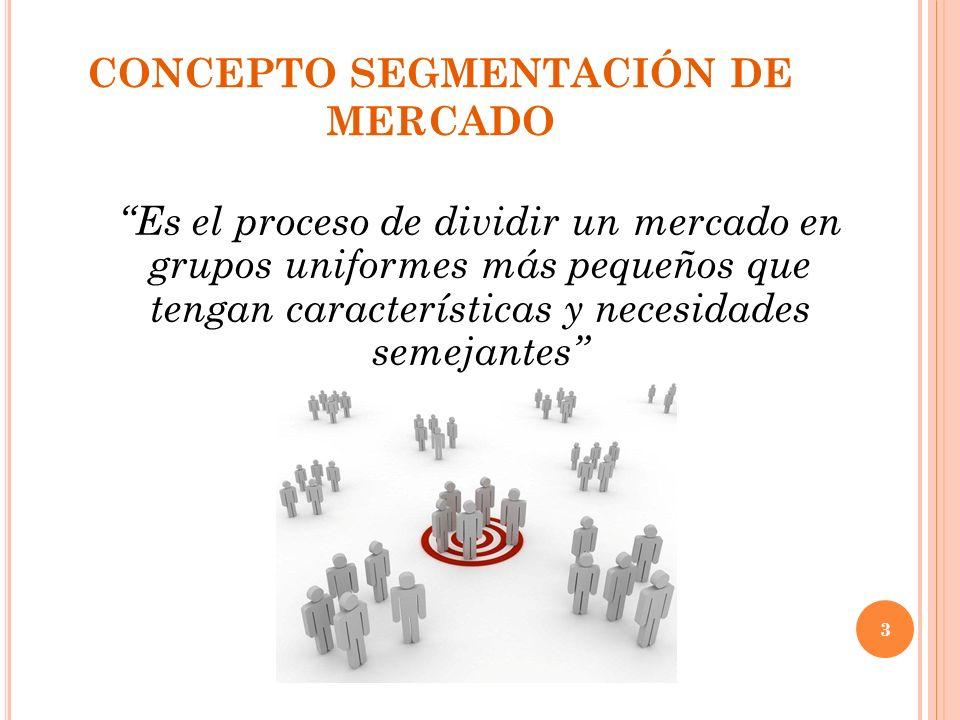 CONCEPTO SEGMENTACIÓN DE MERCADO Es el proceso de dividir un mercado en grupos uniformes más pequeños que tengan características y necesidades semejantes 3