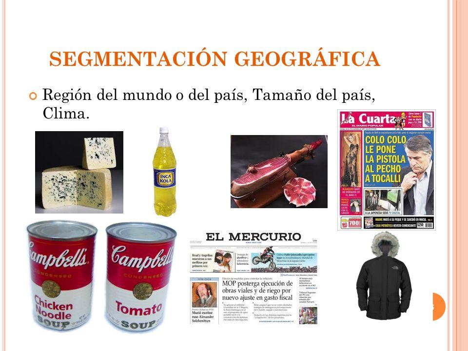 TIPOS DE SEGMENTACIÓN DE MERCADO SEGMENTACIÓN GEOGRÁFICA. SEGMENTACIÓN DEMOGRÁFICA. SEGMENTACIÓN PSICOGRÁFICA. SEGMENTACIÓN CONDUCTUAL. 7