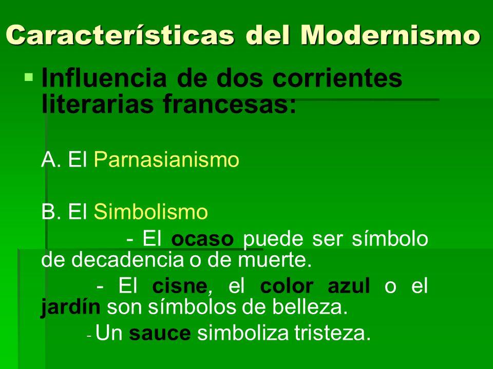 Características del Modernismo Influencia de dos corrientes literarias francesas: A. El Parnasianismo B. El Simbolismo - El ocaso puede ser símbolo de